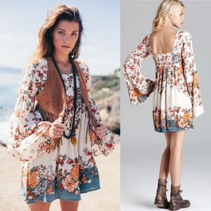Free People Modern Chinoiserie Dress Boho Floral